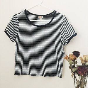 Mossimo Supply Co. black & white striped crop top